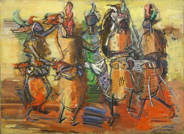 Im Kreis tanzende Swazikrieger, 1961, Sammlung Joseph Hierling