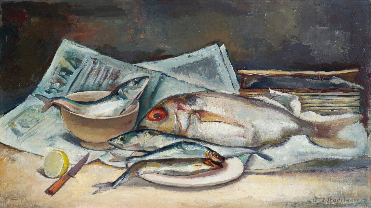Stillleben mit Fischen auf Zeitungsblättern, 1941, Stadema Stiftung