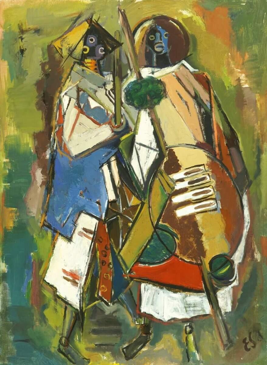 Zwei afrikanische Krieger, abstrakt, 1957, Sammlung Joseph Hierling